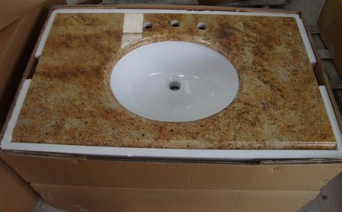 Natural Brown Marble Vanity Countertops 165 MPA Compressive Strength