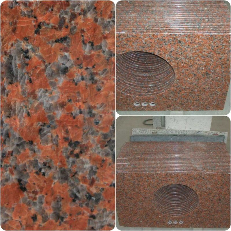 Maple Red Granite Work Tops Polished Solid Surface High Hardness / Density
