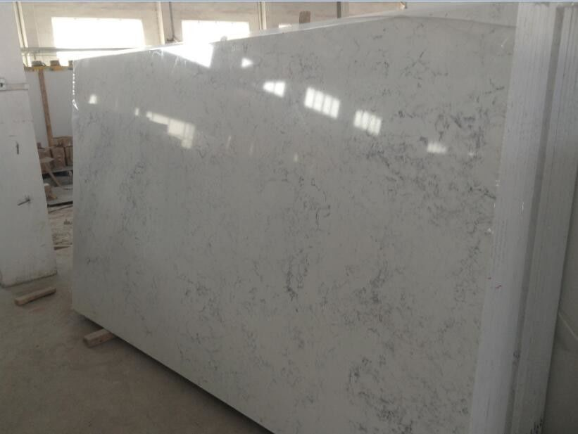 Solid Quartz Engineered Stone Slabs , Kitchen / Bathroom White Quartz Slab