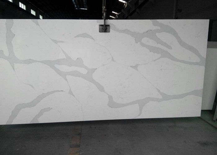 Marble Veins Quartz Slab For Kitchen , Honed / Polished Stone Slab Countertop