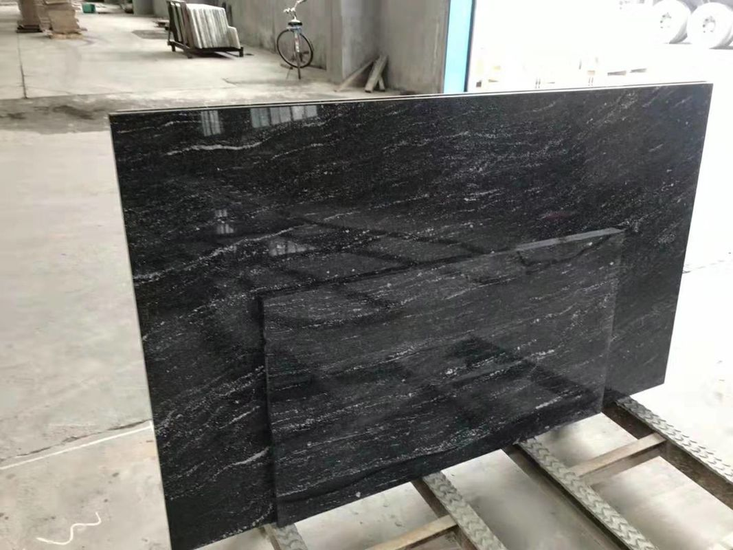 High Strength Jet Black Solid Granite Worktops For Residental Appartment